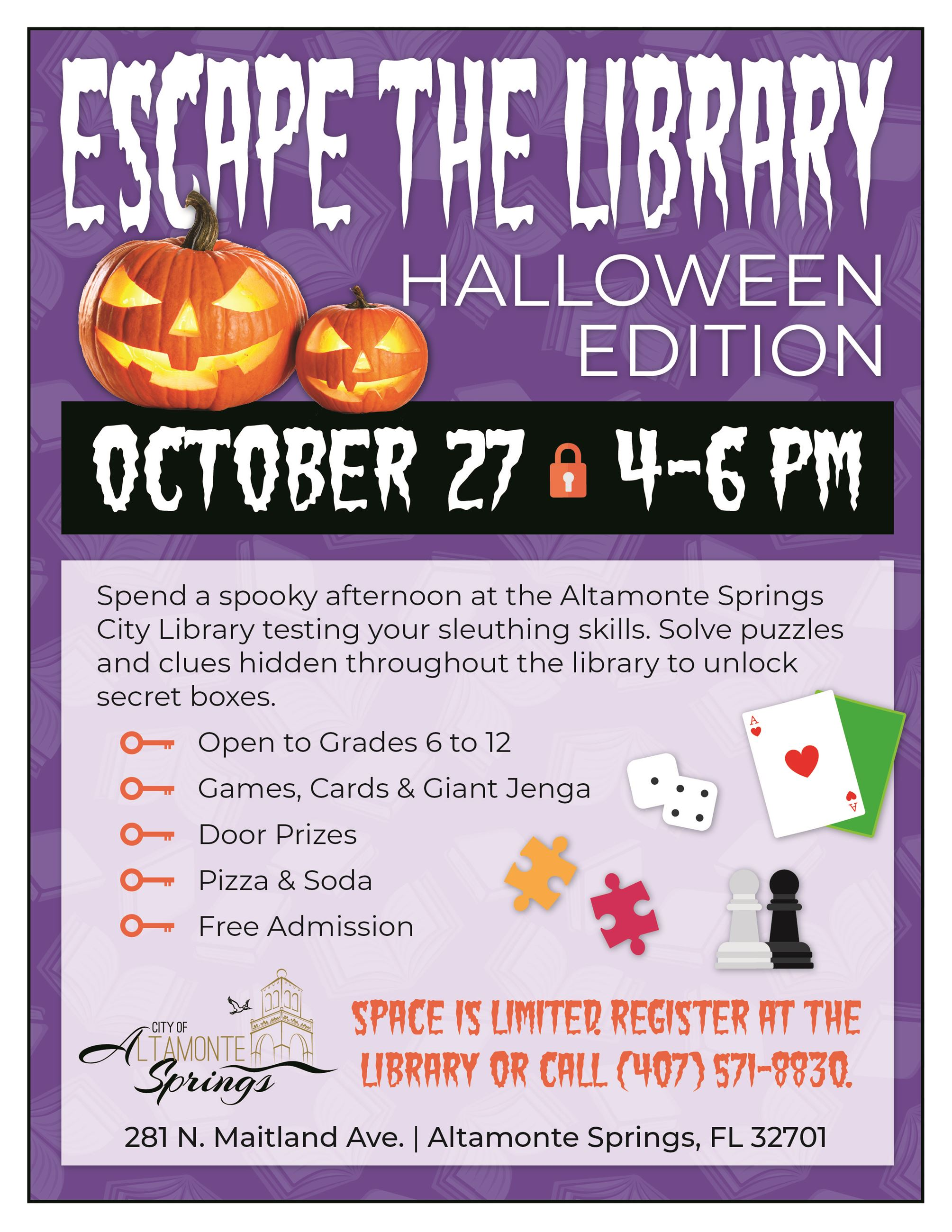 Escape the Library Halloween Flyer