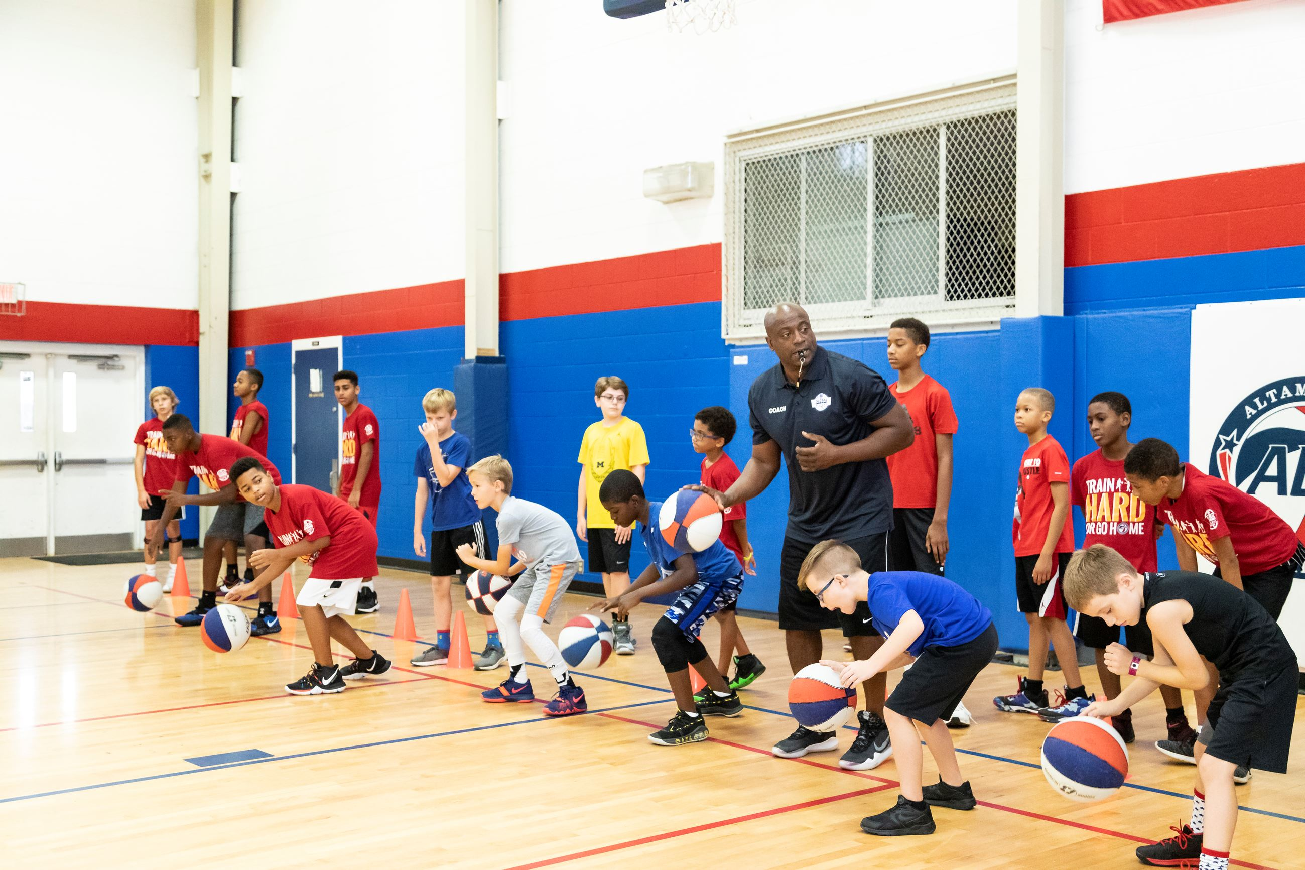 Kids Running Drills at Basketball Camp