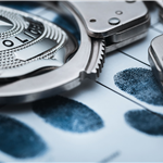 Police Badge With Handcuffs and Fingerprint Card
