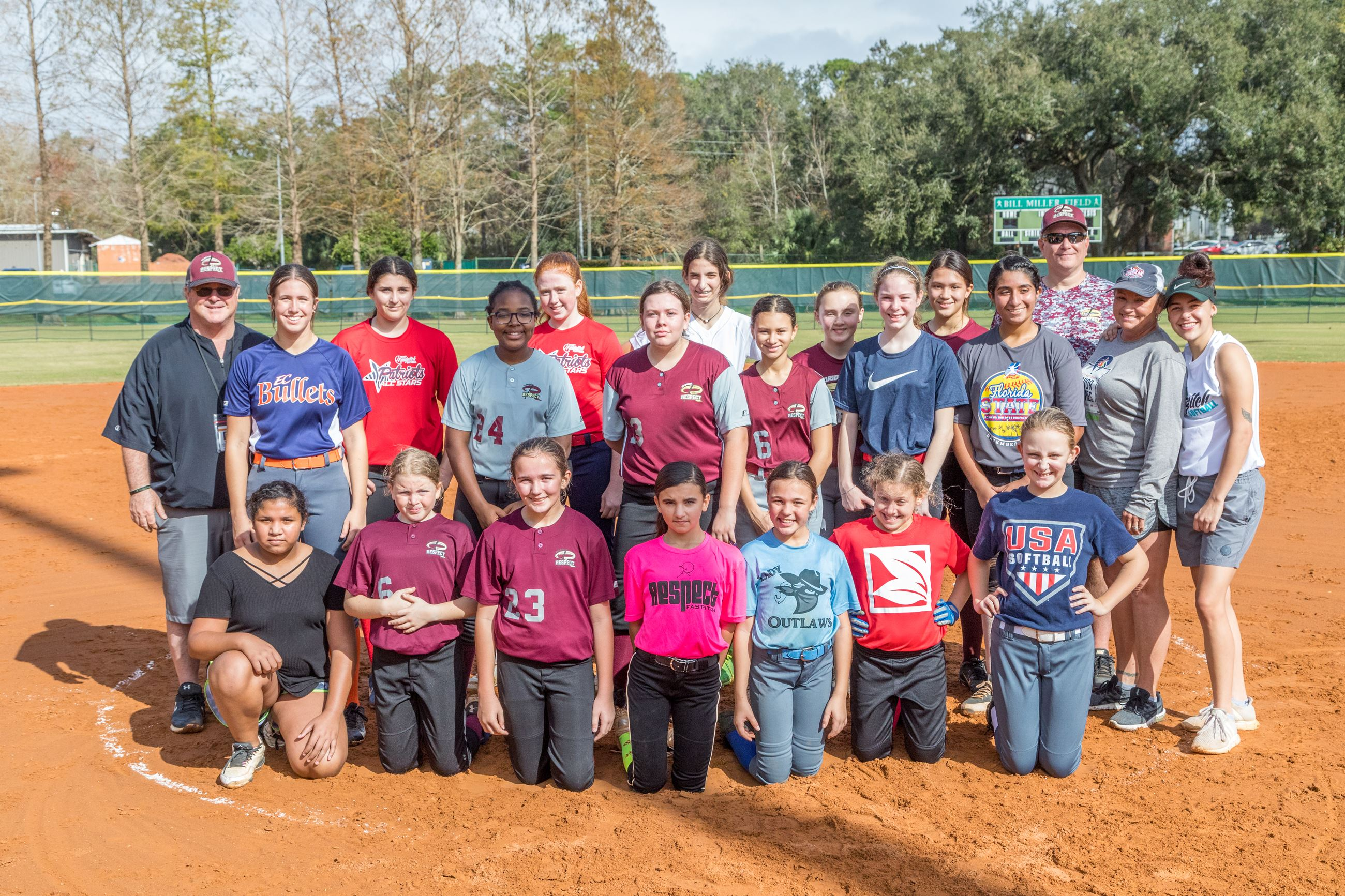 Group Photo of Girls Softball Players and Coaches